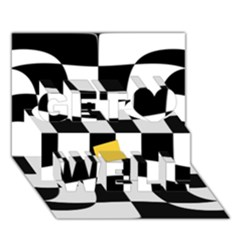 Dropout Yellow Black And White Distorted Check Get Well 3d Greeting Card (7x5) by designworld65