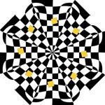 Dropout Yellow Black And White Distorted Check Hook Handle Umbrellas (Small)