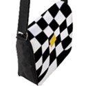 Dropout Yellow Black And White Distorted Check Flap Messenger Bag (L)  View2