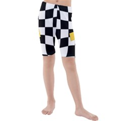 Dropout Yellow Black And White Distorted Check Kids  Mid Length Swim Shorts by designworld65