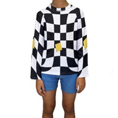 Dropout Yellow Black And White Distorted Check Kids  Long Sleeve Swimwear by designworld65