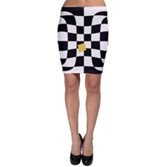 Dropout Yellow Black And White Distorted Check Bodycon Skirt by designworld65