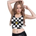 Dropout Yellow Black And White Distorted Check Crop Top View2