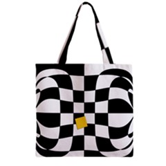 Dropout Yellow Black And White Distorted Check Grocery Tote Bag by designworld65