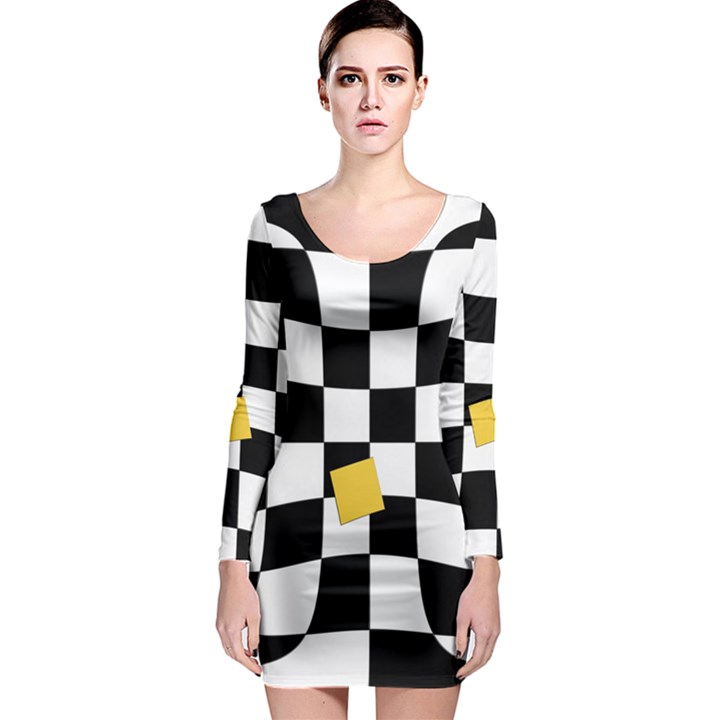 Dropout Yellow Black And White Distorted Check Long Sleeve Bodycon Dress