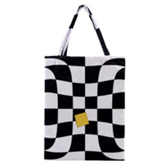 Dropout Yellow Black And White Distorted Check Classic Tote Bag by designworld65
