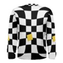 Dropout Yellow Black And White Distorted Check Men s Long Sleeve Tee View2