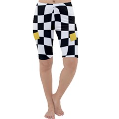 Dropout Yellow Black And White Distorted Check Cropped Leggings  by designworld65