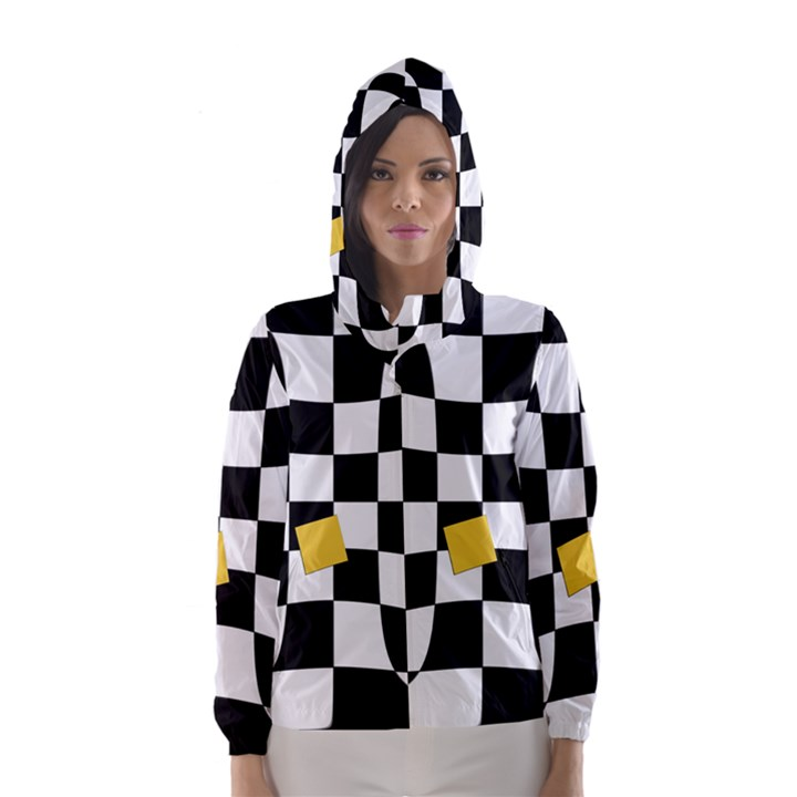 Dropout Yellow Black And White Distorted Check Hooded Wind Breaker (Women)