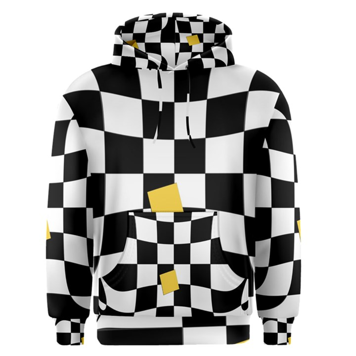Dropout Yellow Black And White Distorted Check Men s Pullover Hoodie