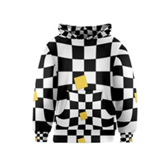 Dropout Yellow Black And White Distorted Check Kids  Pullover Hoodie by designworld65