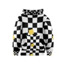 Dropout Yellow Black And White Distorted Check Kids  Pullover Hoodie View1