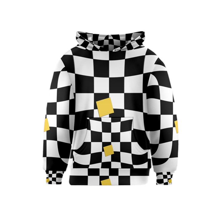 Dropout Yellow Black And White Distorted Check Kids  Pullover Hoodie