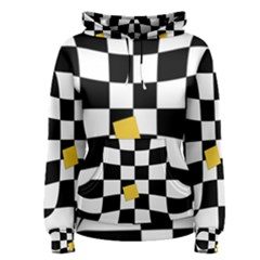 Dropout Yellow Black And White Distorted Check Women s Pullover Hoodie by designworld65