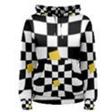 Dropout Yellow Black And White Distorted Check Women s Pullover Hoodie View1