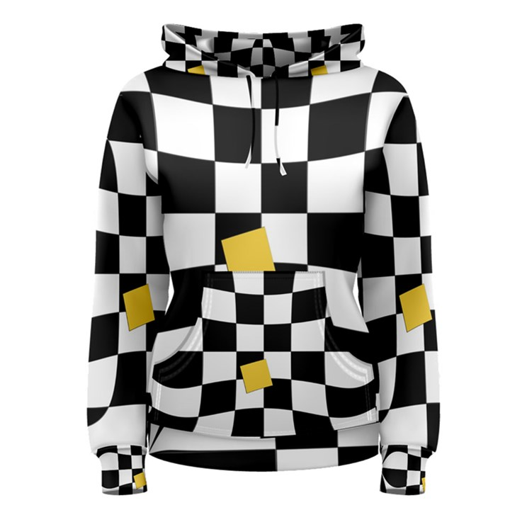 Dropout Yellow Black And White Distorted Check Women s Pullover Hoodie