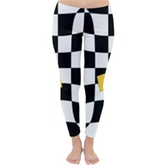 Dropout Yellow Black And White Distorted Check Winter Leggings