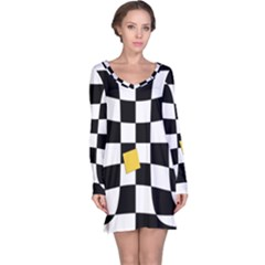 Dropout Yellow Black And White Distorted Check Long Sleeve Nightdress