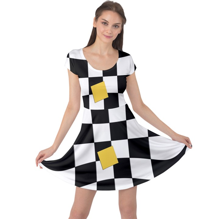 Dropout Yellow Black And White Distorted Check Cap Sleeve Dresses
