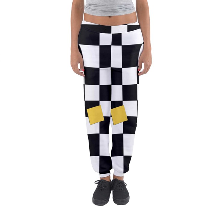 Dropout Yellow Black And White Distorted Check Women s Jogger Sweatpants