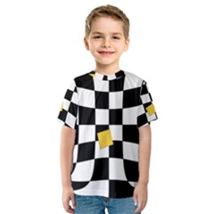 Dropout Yellow Black And White Distorted Check Kids  Sport Mesh Tee by designworld65