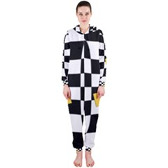 Dropout Yellow Black And White Distorted Check Hooded Jumpsuit (ladies)  by designworld65