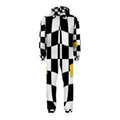 Dropout Yellow Black And White Distorted Check Hooded Jumpsuit (Kids) by designworld65