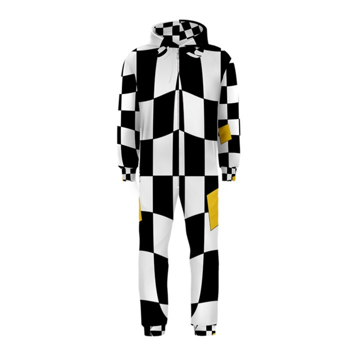 Dropout Yellow Black And White Distorted Check Hooded Jumpsuit (Kids)