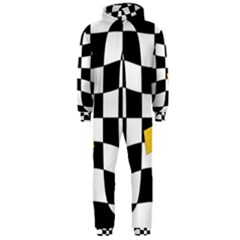 Dropout Yellow Black And White Distorted Check Hooded Jumpsuit (men)