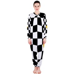 Dropout Yellow Black And White Distorted Check Onepiece Jumpsuit (ladies)