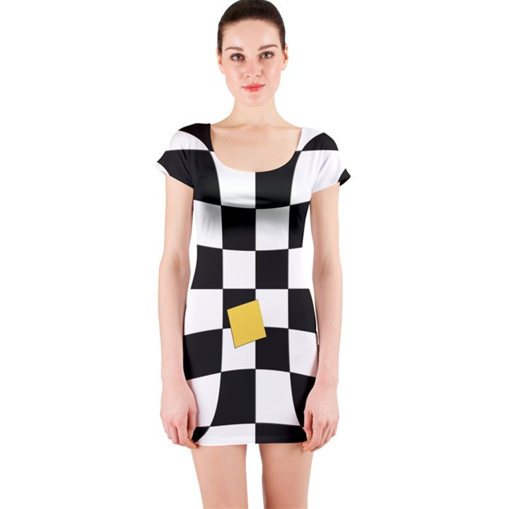 Dropout Yellow Black And White Distorted Check Short Sleeve Bodycon Dress