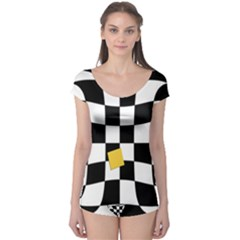 Dropout Yellow Black And White Distorted Check Boyleg Leotard  by designworld65