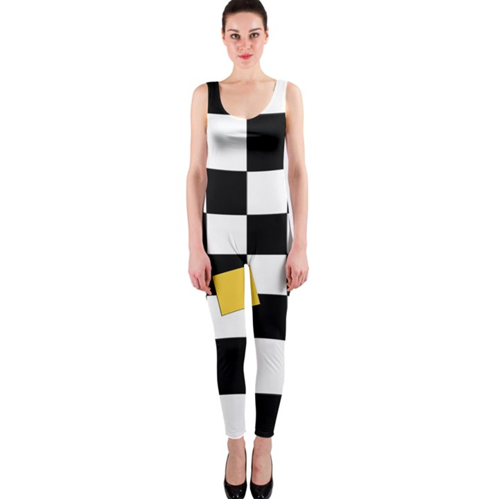 Dropout Yellow Black And White Distorted Check OnePiece Catsuit