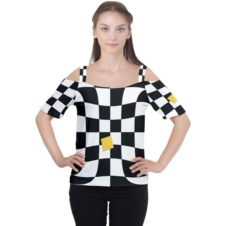 Dropout Yellow Black And White Distorted Check Women s Cutout Shoulder Tee