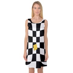 Dropout Yellow Black And White Distorted Check Sleeveless Satin Nightdress