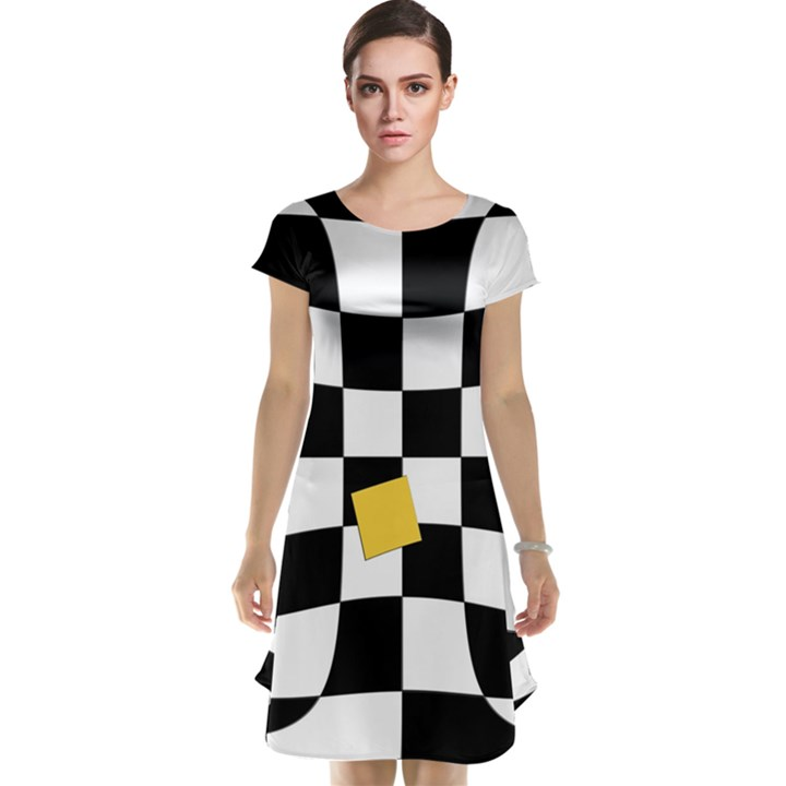 Dropout Yellow Black And White Distorted Check Cap Sleeve Nightdress