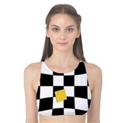 Dropout Yellow Black And White Distorted Check Tank Bikini Top