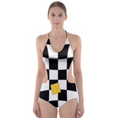 Dropout Yellow Black And White Distorted Check Cut Out One Piece Swimsuit