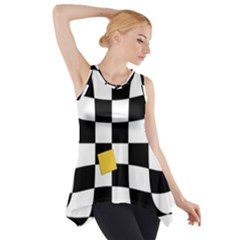 Dropout Yellow Black And White Distorted Check Side Drop Tank Tunic by designworld65