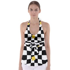 Dropout Yellow Black And White Distorted Check Babydoll Tankini Top