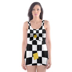 Dropout Yellow Black And White Distorted Check Skater Dress Swimsuit