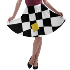 Dropout Yellow Black And White Distorted Check A Line Skater Skirt by designworld65