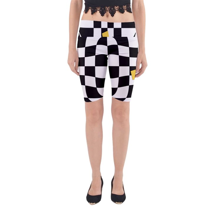 Dropout Yellow Black And White Distorted Check Yoga Cropped Leggings