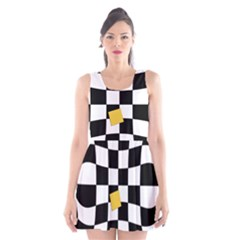 Dropout Yellow Black And White Distorted Check Scoop Neck Skater Dress by designworld65