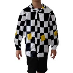 Dropout Yellow Black And White Distorted Check Hooded Wind Breaker (kids)