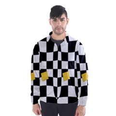 Dropout Yellow Black And White Distorted Check Wind Breaker (men)