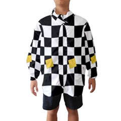 Dropout Yellow Black And White Distorted Check Wind Breaker (kids) by designworld65
