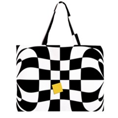 Dropout Yellow Black And White Distorted Check Zipper Large Tote Bag by designworld65
