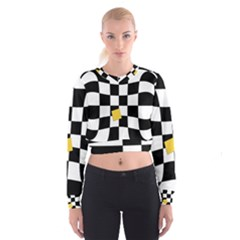 Dropout Yellow Black And White Distorted Check Women s Cropped Sweatshirt by designworld65