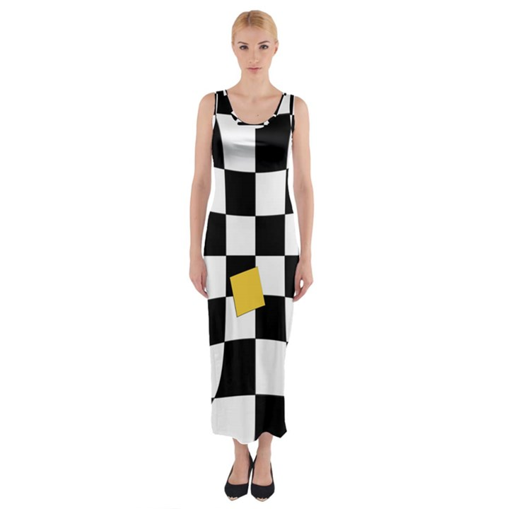 Dropout Yellow Black And White Distorted Check Fitted Maxi Dress